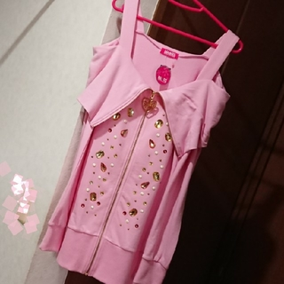 マーズ(MA*RS)の【新品未使用タグ付き】 MA*RS マーズ♡肩あきパーカー ピンク(ミニワンピース)