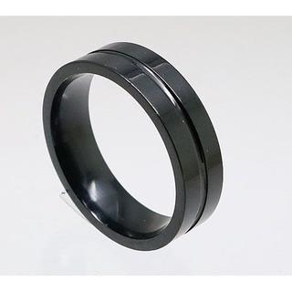 凹みラインステンレスリング ブラック 17号 新品 クリックポスト送料無料(リング(指輪))
