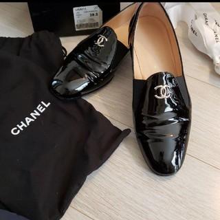 シャネル(CHANEL)の美品 シャネル スリッポン ローファー 靴 25cm 39ハーフ 39.5(ローファー/革靴)