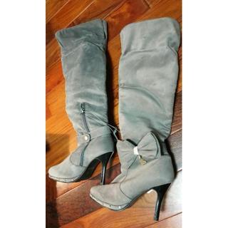 お洒落ロングブーツ2wayピンヒールブーツ灰色グレー金色ハート姫リボンパール防寒(ブーツ)