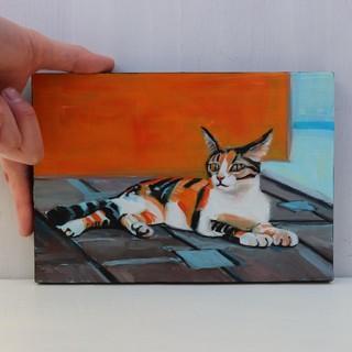 お座りネコの小さな油絵 SMサイズ(絵画/タペストリー)