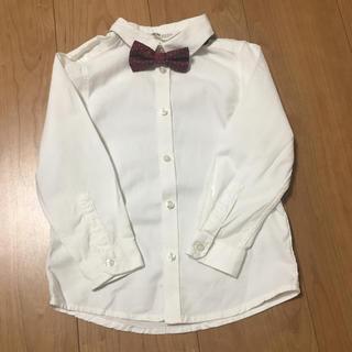 エイチアンドエム(H&M)のH&M 蝶ネクタイ付き白シャツ 110(ドレス/フォーマル)