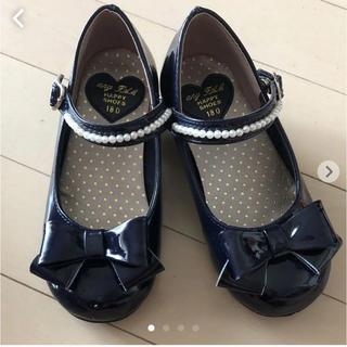 エニィファム(anyFAM)のエニィファム  フォーマルシューズ 18.0 靴 組曲 リボン パール ネイビー(フォーマルシューズ)