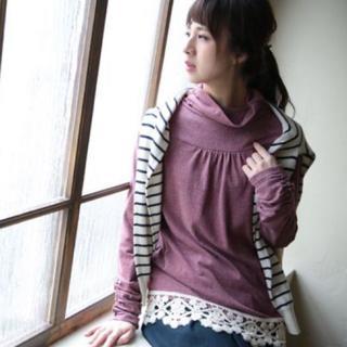 ソルベリー(Solberry)のsoulberry 裾レースタートルネック Lサイズ(カットソー(長袖/七分))