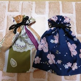 【新品】和柄巾着袋 二点セット(和装小物)