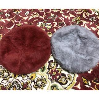 アズールバイマウジー(AZUL by moussy)のアンゴラ ベレー帽セット (グレー&レッドブラウン)(ハンチング/ベレー帽)