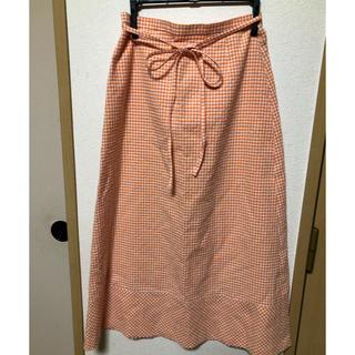 オレンジチェックのロングスカート(ロングスカート)