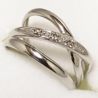 新品同様♡k18WG 0.02ダイヤモンド付 ピンキーリング1号♡(リング(指輪))