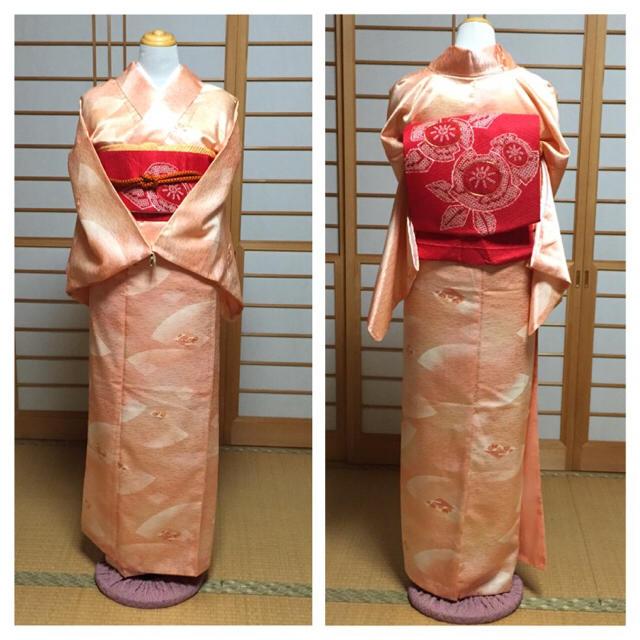 扇と菱形☆サーモンピンクの小紋 レディースの水着/浴衣(着物)の商品写真