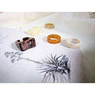 トゥデイフル(TODAYFUL)のibitu brown marble ring ☽(リング(指輪))