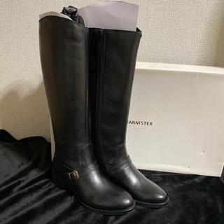 オゥバニスター(AU BANNISTER)の新品 アバハウス オゥバニスター ロングブーツ レザー 本革 23 黒 牛革(ブーツ)