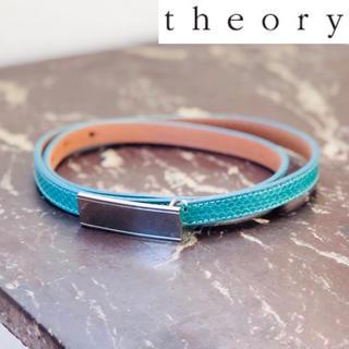 セオリー(theory)のtheory セオリー パイソンレザー細ベルト ターコイズ(ベルト)