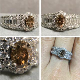 Pt900 とても綺麗なダイヤ ブラウンダイヤ リング(リング(指輪))
