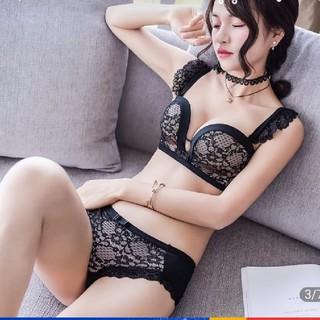 新品 ブラセット シースルーフリルブラジャー&ショーツ B85  B80 (ブラ&ショーツセット)