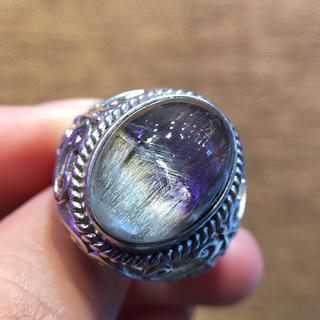 【高級】シルバータイチンルチルクォーツ リング 17.5*12.8mm s925(リング(指輪))