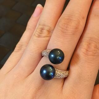 ミキモト(MIKIMOTO)の天然パールリング ダブルパール ブルーブラック(リング(指輪))