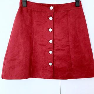 エイチアンドエム(H&M)の新品 Aライン スカート フロントボタン 赤 レッド ボルドー(ミニスカート)