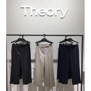 セオリー(theory)の美品☆Theory ウール ワイドパンツ クロップドパンツ Mサイズ(カジュアルパンツ)