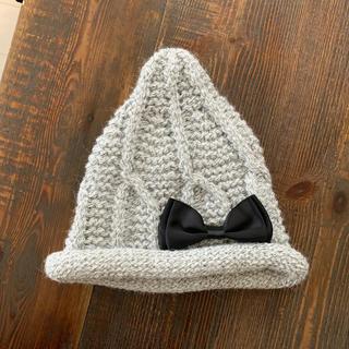 ザラキッズ(ZARA KIDS)のとんがりリボンニット帽 グレー 霜降り キッズ(帽子)