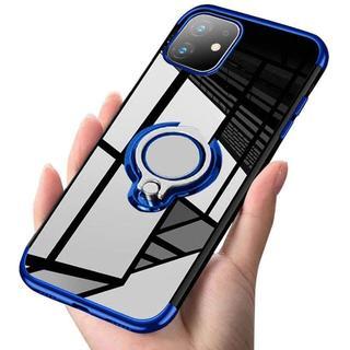 iPhone 11青 スマホリング付きケース 透明+フィルム(iPhoneケース)