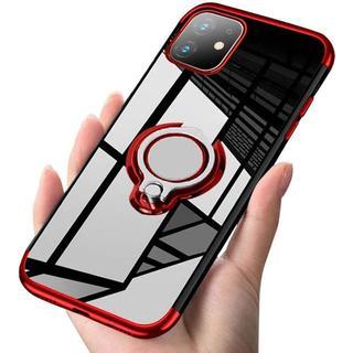 iPhone 11赤 スマホリング付きケース 透明 +フィルム(iPhoneケース)