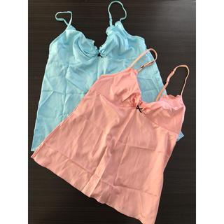 【新品】キャミソールサテン系 2着セット ピンク 水色 セクシー スリップ(キャミソール)