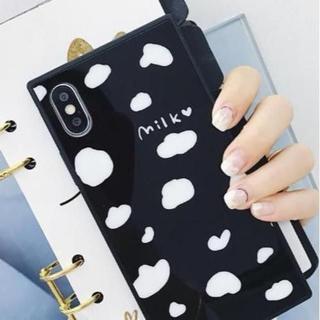 ≪iphone7/8≫模様が可愛い♡ milk柄 iphoneケース【ブラック】(iPhoneケース)