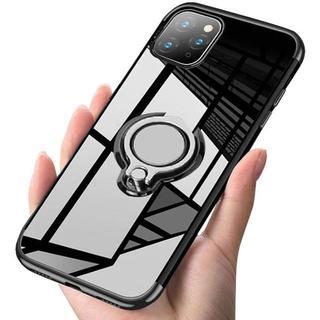 iPhone 11Pro黒 スマホリング付きケース+フィルム(iPhoneケース)