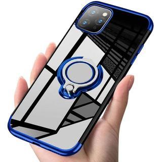 iPhone 11Pro青 スマホリング付きケース+フィルム(iPhoneケース)