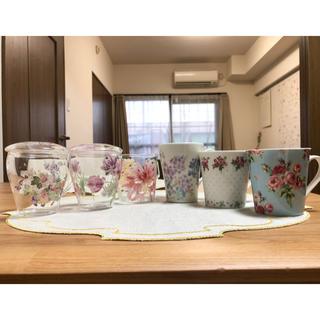 ローラアシュレイ(LAURA ASHLEY)の【6個セット】ローラアシュレイマグカップ耐熱グラス蓋付き(グラス/カップ)