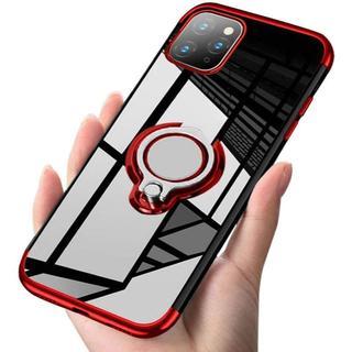 iPhone 11Pro Max 赤 スマホリング付きケース+フィルム(iPhoneケース)