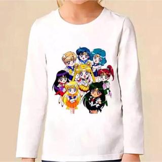 セーラームーン(セーラームーン)のセーラームーン 子供服 キッズ ロングTシャツ 5Tサイズ(スターズ8戦士柄☆)(Tシャツ/カットソー)