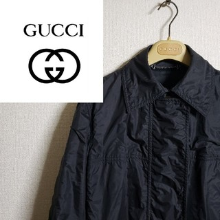 グッチ(Gucci)のグッチ バルマカーンコート ナイロンジャケット ブラック シワ加工 90s(ステンカラーコート)