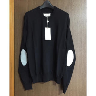 マルタンマルジェラ(Maison Martin Margiela)の黒M新品 メゾンマルジェラ エルボーパッチ コットン ニット ブラック メンズ(ニット/セーター)