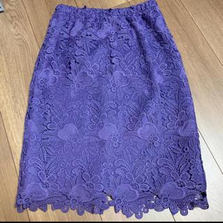 フリーズマート(FREE'S MART)のパープル刺繍スカート(ひざ丈スカート)