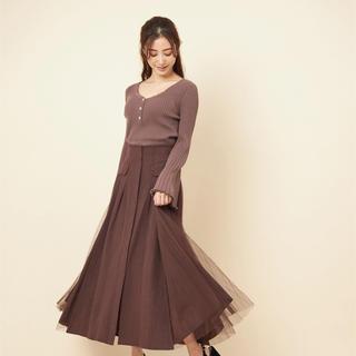 ココディール(COCO DEAL)のハイウエスト異素材レイヤードプリーツスカート(ロングスカート)