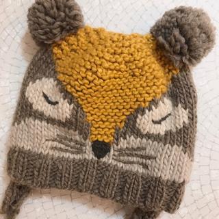 ザラキッズ(ZARA KIDS)のZARA baby タヌキ帽子 あったかニット帽 たぬき girls 50cm(帽子)
