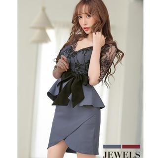 ジュエルズ(JEWELS)のJEWELS ブラックレース ペプラム リボン ワンピース ドレス ミニ丈 新品(ナイトドレス)