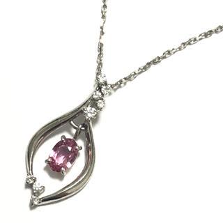 ピンクサファイア ダイヤモンド ネックレス ペンダント pt900 プラチナ(ネックレス)