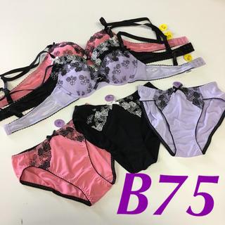 線画調刺繍花柄ブラショーツ3セット B75 M(ブラ&ショーツセット)