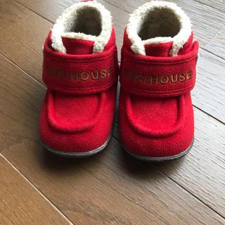 ミキハウス(mikihouse)のミキハウス ベビー靴 ショートブーツ カラー赤 サイズ13センチ(ブーツ)