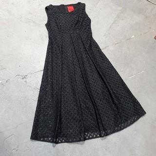 シビラ(Sybilla)の美品 Sybilla チュール ラメ ワンピース ドレス ブラック(ミディアムドレス)