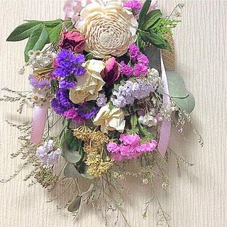 、❤️ドライフラワー スワッグ❤️ユーカリ、薔薇、紫陽花、スターチス39cm(ドライフラワー)