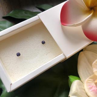 18金 スワロ ピアス 刻印あり パープル紫(ピアス)