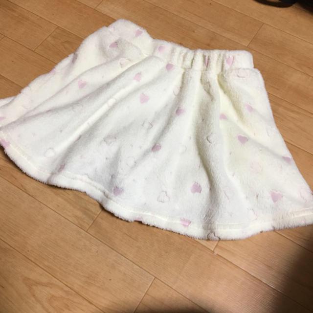 しまむら(シマムラ)のフワもこスカート ハート柄 ピンクリボン 130cm キッズ/ベビー/マタニティのキッズ服女の子用(90cm~)(スカート)の商品写真