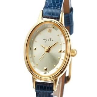 アガット(agete)のagete オーバルフェイス ブルー 革 腕時計(腕時計)