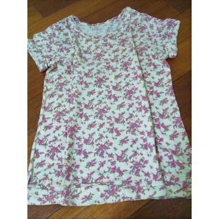 ロキエ(Lochie)の80sフラワー lochieリバティ綿ピンクキナリ半袖 used vintage(Tシャツ(半袖/袖なし))