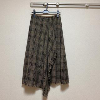 ナチュラルビューティーベーシック(NATURAL BEAUTY BASIC)のチェックフリンジスカート(ロングスカート)