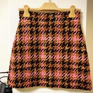 ミュウミュウ(miumiu)のmiumiu ミュウミュウ チェックミニスカート ツイード 38 新品未使用(ミニスカート)