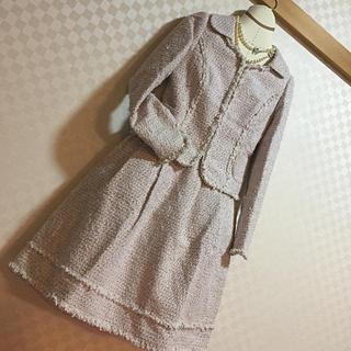 トゥービーシック(TO BE CHIC)の最終価格‼️TO BE CHIC ツイードリボンスーツ  ピンク 38(スーツ)